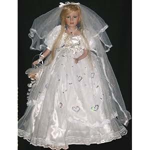 Mariée en porcelaine avec robe blanche 60 cm
