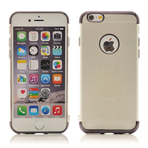 iProtect Apple iPhone 6 6s TPU Case Schutzhülle Transparent mit Ränder in Lila Hardcase Transparent Lila
