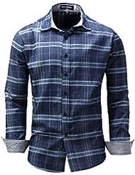 Chemise à carreaux décontractée pour hommes M-3XL