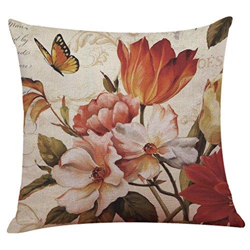 50% Leinen (COFACE Schöne Blume Vögel gedruckt Muster Kissenbezug 50X50cm Leinen-Baumwoll atmungsaktiv Kissenhülle Kopfkissenbezug)