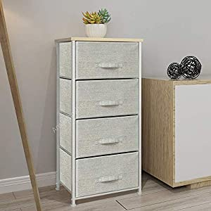 QIHANG-UK Grey Bedroom Dresser Tallboy Clothes Organizer Fabric Chest of 4 Drawers 45 * 30 * 94cm (002)   9
