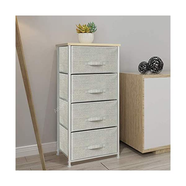 QIHANG-UK Grey Bedroom Dresser Tallboy Clothes Organizer Fabric Chest of 4 Drawers 45 * 30 * 94cm (002) QIHANG-UK Utility Storage Unit: this chest of drawers will help on improving the efficiency of space usage, make it easier for you to classify and storage stuff, it is suitable for both personal and family use Sturdy and Durable: solid metal frame and x-shaped bar behind ensure the stability, plastic caps on feet keep floor from scratches; upper 18mm wood board which is solid and simple to clean up; this storage unit is sturdy and durable Easy to assemble: with the aid of the included mounting accessories, the storage system with drawers can be built in 5-10 minutes 1