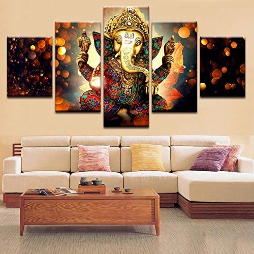 Indische Leinwand Kunst (5 Stück Kunst Leinwand HD Populärer Wand-indischer Elefant Lord Ganesha Gott modular Bilderplakat zum Leben,B,30×50×2+30×70×2+30×80×1)