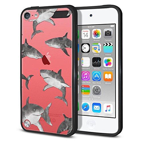 Hybrid Fall, fincibo Slim, TPU Bumper Silikon + Klar Hard Back Schutzhülle für Apple iPod Touch 5(5. Generation), Hälfte Blau Schwarz Marmor, Gray Sharks (Ipod Touch 5 Schwarz Und Blau Fall)