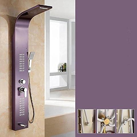 modylee in acciaio inox multifunzione pioggia, automatica sheung shui, massaggio, Cascata Doccia protezione per una più di un rubinetto, colore: viola uva