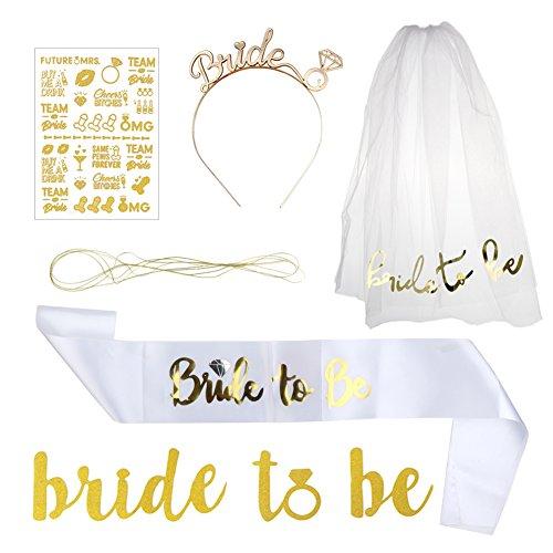 aerwo uns Dekorationen & Banner und Bride to be Schärpe, Hochzeit Tiara Krone, Weiß Schleier mit Kamm, Flash Tattoos, perfekt Bridal Dusche Hen Party Zubehör Supplies