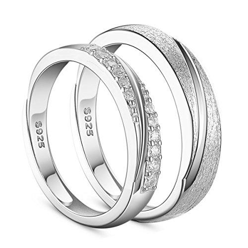 Shegrace un paio di anelli in argento 925 anello per coppia con zirconi aaa, glassata, platino, 17-19 mm, regolabile