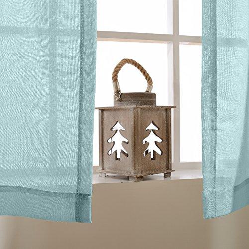 TOPICK Sheer Vorhang mit Ösen transparent Gardine 2 Stücke Gaze paarig schals Fensterschal Vorhänge 241 cm x 140 cm(H x B),2er-Set,Blau - 4
