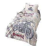ZIRVEHOME Kinderbettwäsche Motocross 135x200 cm - 80x80 cm kissenbezug Linon