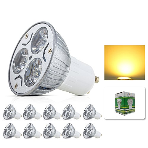 Preisvergleich Produktbild Mengjay® 10 Stück - GU10 LED Lampen Energiesparlampe 3W Ersatz für Halogenlampen Warmweiß Aluminum Cover AC 85-265V