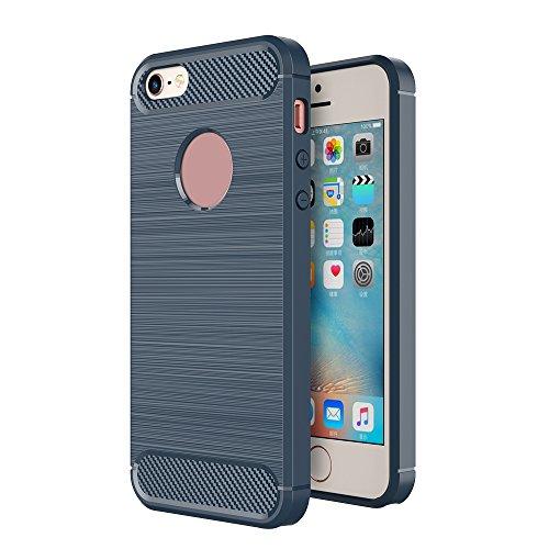 Skitic Brushed Cover TPU Case für iPhone 5/5G/5S/SE, Luxus Carbon Fiber Weiche Zurück Schutzhülle Flexible Shockproof Armor Handytasche Schutz Schale Gebürstet Hülle für Apple iPhone 5/5G/5S/SE 4.0 Zoll (Navy Blau)