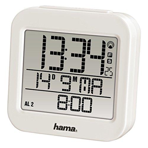 """Hama Funk Wecker """"RC 130"""" (zwei Weckzeiten, Snooze, Speed Alarm, Thermometer und Kalender) Funkwecker weiß"""