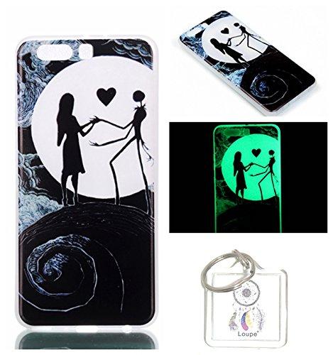 """Preisvergleich Produktbild Hülle Leuchtende Huawei P10 Plus(5.5"""") Silikon Etui Handy Hülle Weiche Transparente Luminous TPU Back Case Tasche Schale Leuchten In Der Nacht Für Huawei P10 Plus(5.5"""") + Schlüsselanhänger (P) (5)"""