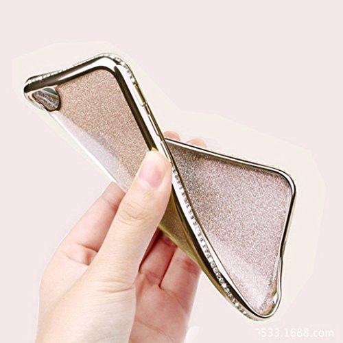 Custodia iPhone 7, Cover iPhone 7, Yoowei® diamante di Bling Custodia Chiaro Cristallo Ultra Sottile Morbido Placcatura TPU Gel Case Cover per iPhone 7 4.7, Nero Gold