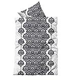 Leonado-Vicenti 2 tlg Bettwäsche 135x200 cm Weiß Schwarz Ornamente Microfaser Garnitur
