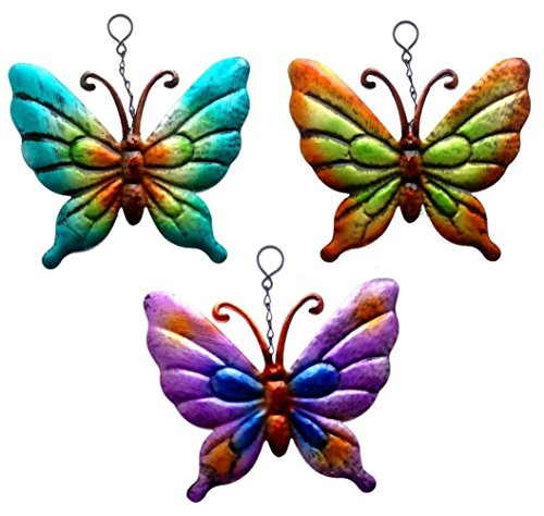 Set mit 3x Metall-Schmetterlingen zum Aufhängen Gartendeko Wandkunst, metallic-Schmetterlinge