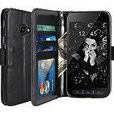 Galaxy Xcover 4 Hülle, LK Luxus PU Leder Brieftasche Flip Case Cover Schütz Hülle Abdeckung Ledertasche für Samsung Galaxy Xcover 4 (Schwarz)