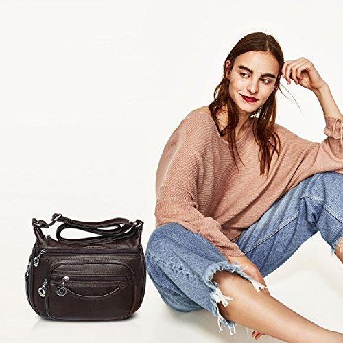 NICOLE&DORIS Damen Handtaschen Crossbody Tasche Schultertaschen Umhängetasche Reisetasche PU Braun Braun