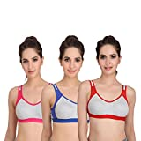 Embibo Sport Women Running Bra Full-Coverage Bras Blue Red and Pink Bra Size
