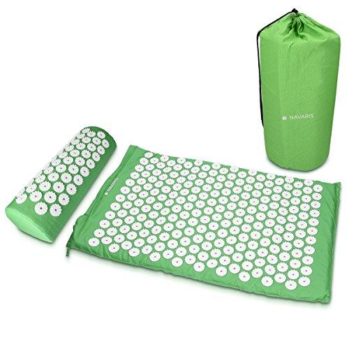 Navaris Set 2en1 masaje de acupresión en verde - 1 almohada y...