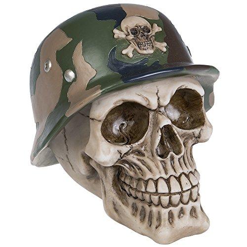 A.G.S. Deko Totenschädel Stahlhelm Schädel Halloween Gothic Camouflage -