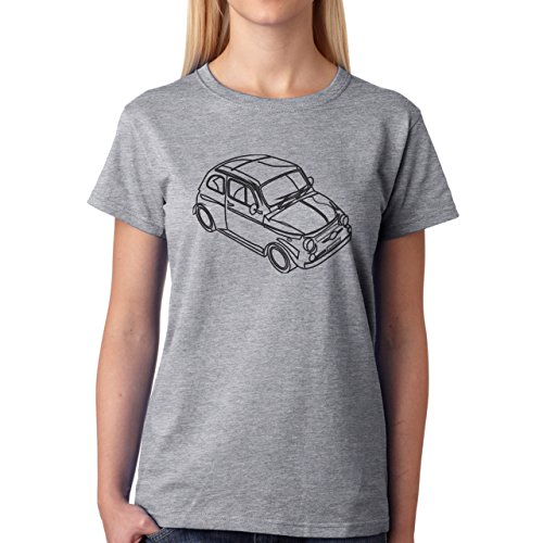 Car Vehicle Four Wheels Auto Fiat White Black Damen T-Shirt Grau