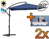 2 Stk. PREMIUM XXL Ampelschirm 250 cm,8-teilig,8 Rippen,2,50 x 2,50 m,8-teilig,8 Rippen,Balkonschirm viereckig robustes ca. 200 g/m² Polyester,blau-dunkelblau,Sonnenschirm mit Schirmbeistelltisch UV50+ KOMPLETT mit Standkreuz,Standfuß + ca. 50 mm Mast,Hängeschirm Sonnendach Überdach,Schirm Strandschirm,PREMIUM XXL-Klappschirm,groß,robust stabil,blau hellbraun hell/blau Streifen-Klappschirm mit Stoffbezug,mehrfach verstellbar