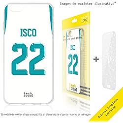 FunnyTech® Set Funda Silicona para Samsung Galaxy S6 Edge [Gel Silicona Flexible Alta Calidad] [Ultra Slim 1,5mm] [Diseño Exclusivo, Impresión Alta Definición] + [Cristal Templado 0,3mm, HD, 9H] [Camiseta Isco Real Madrid]