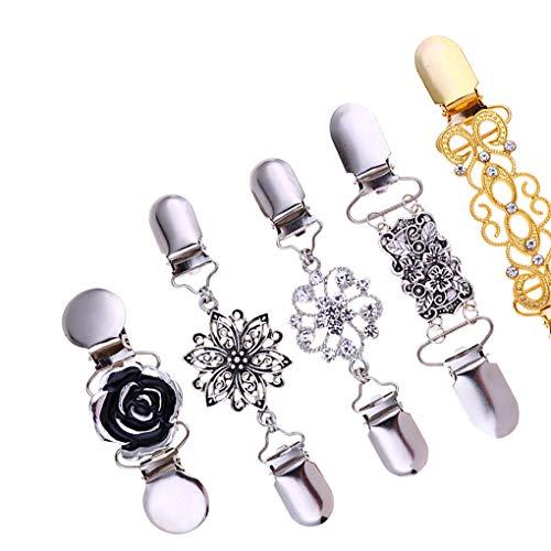 Dergtgh 5pcs / Set Retro Cardigan Clip-Strickjacke Kragen Pins Dekoration Fixing Kleidung Ornament Kleider Schal Pins Formale Schal