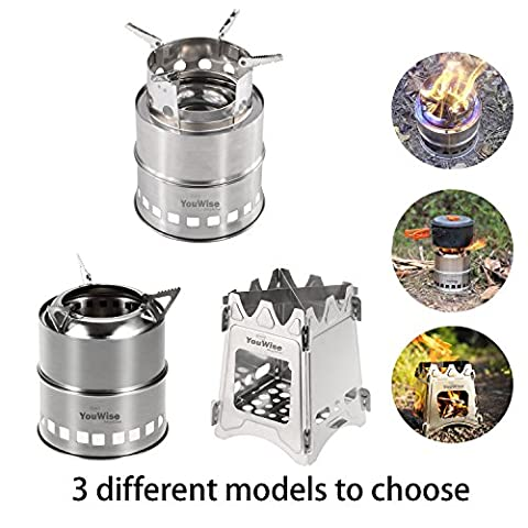 Wood Burning Collapsible Stove-YouWise Stainless Steel Mini Portable Lightweight Stove with Mesh Carry Bag -Perfect for Outdoor Cooking,Picnic Camping,Survival Packs, Emergency,Multi Models to