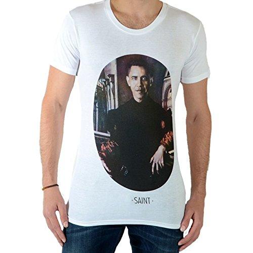 Barack Obama Weißes T-shirt (T-Hemd Eleven Paris Saint-OB-M-us-präsident Barack Obama Weiß)