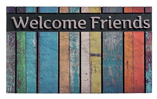 ECOMASTER 45 x 75 CM. Hochwertige und strapazierfähige Eingangsmatte - Fussmatte. WELCOME FRIENDS. Blau, rot, gruen, gelb. Gummimatte speziel für den Aussenbereich. Frostsicher. 20 MM dick.