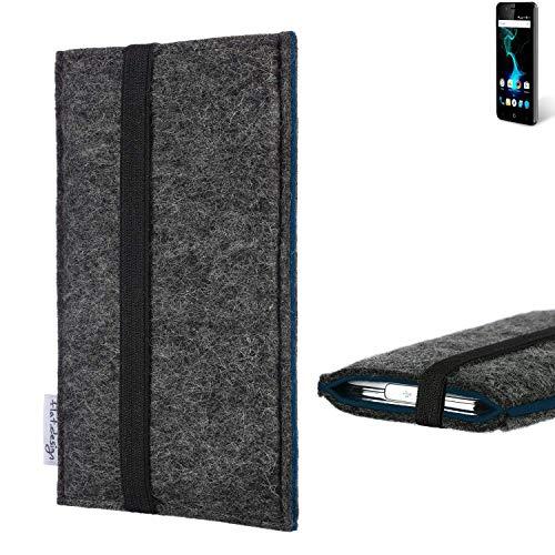flat.design Handyhülle Lagoa für Allview P6 Pro | Farbe: anthrazit/blau | Smartphone-Tasche aus Filz | Handy Schutzhülle| Handytasche Made in Germany