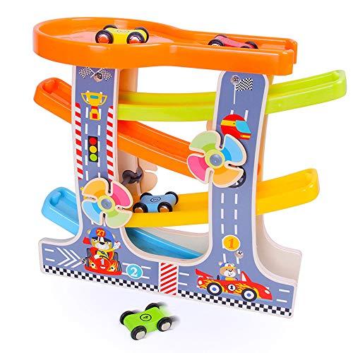 YZH Geschwindigkeit Rutsche Spielzeug Holz Geschwindigkeit Geschwindigkeit Auto/Kinderstrecke Trägheit Auto/Früherziehung Puzzle Holzspielzeug Qualität Holz 4 Sportwagen Perfekte Kindergeschenke