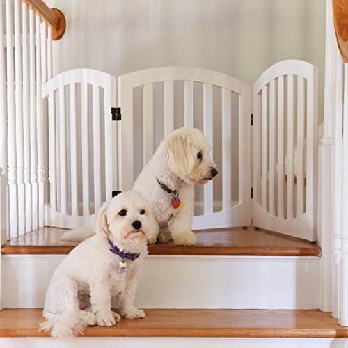 Arf Pets ARF freistehend Holz Hund Tor, Schritt über Pet Zaun, Faltbar, Verstellbar, Weiß (Holz-hund-schritte)