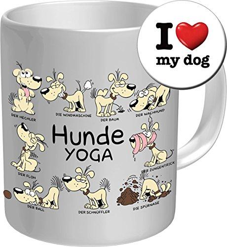 Express-geschenk-set (2611 Geburtstag Geschenke-Set Hund: HUNDE YOGA. Premium Geschenk Fischen FischTasse Keramik, Original RAHMENLOS® in Geschenkbox + Button I Love my dog Birthday)