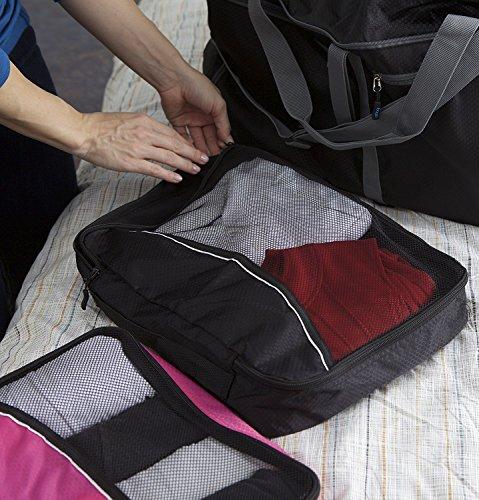 Packwürfel Kleidertaschen Packing cubes Koffertaschen für angenehmes Reisen und aufgeräumte Koffer -Große und mittelgroße Taschen zum Schutz und zur Komprimierung von vielen Kleidungsstücken, Schuhen  Large-Black