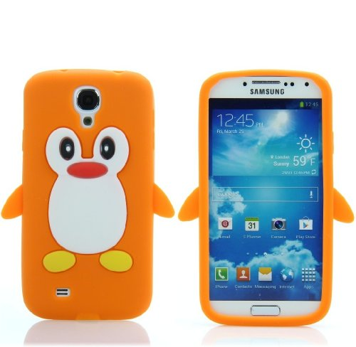 Handy Lux® Schutz Hülle Silikon Case Cover Etui Pinguin für Nokia Lumia 920 - Orange Nokia Lumia 920 Hülle Case
