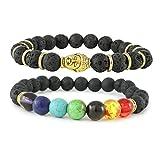 Buddha Armband + Chakra Armband | Buddhistisches Lava Lavastein Armband | Energietherapie Armband| Zen-Buddhsimus Armband | Buddhismus Armband mit Buddha Kopf + Chakra Armband mit 7 farbigen Naturst