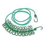 nuzamas 12Wäscheklammern Clips Schirmhaspel tragbar erweiterbar verstellbar Roll-Wäscheständer für Camping Reise Kleidung Wäschetrocknen Outdoor und Innenbereich grün