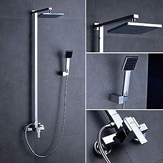 "51i6E3cKrSL. SS324  - Columna ducha,Auralum® 8 "" Conjunto de ducha barra con ducha mango + alcachofa ducha lluvia cuadrada + perillas mezclador para ducha de baño en latón"