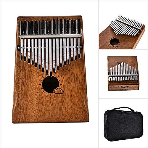 Festnight Muspor 17 Key Kalimba Mbira Afrikanischer Mahagoni Daumen Klavier Finger Musikinstrument mit Tasche