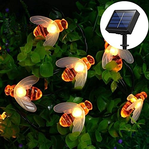 Solar Honey Bees String Lights, EONHUAYU Honey Bees Lights 23FT/7M 50 LED Waterproof Bee String Lights for Outdoor Garden Summer Party Wedding Xmas Decoration (Warm White)