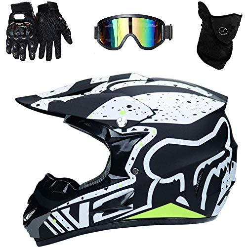 AA-Helmet TOKU Helm Motorrad ATV ADV UTV Motorradhelm Cross Country D. O. T Resistance Sicherheitszertifikat, mit Brille/Handschuhen/Maske