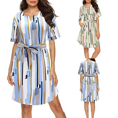 Damen Streifen A-Line Kleid  2019 Sommer Mode Freizeit Knielang Kurzarm Strandkleid Bequem Drucken Lose O-Ausschnitt Abendkleid Freigabe (XL, Lila)
