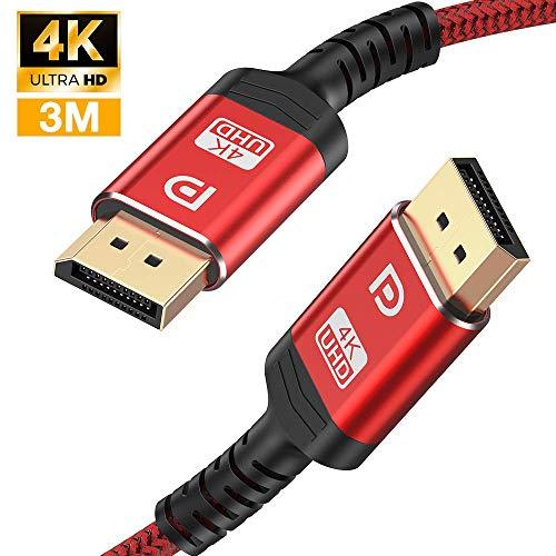 4K DisplayPort Kabel 3M - DisplayPort auf DisplayPort Kabel(4K@144Hz,4K@60Hz, 2K@165Hz) Nylon Geflecht DP zu DP Kabel Ultra High Speed Display Port Kabel unterstützt Laptop PC,TV etc (Rot)