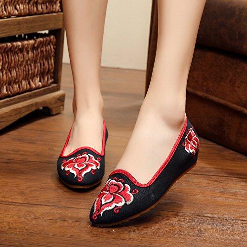 WXT Feine bestickte Schuhe, Sehnensohle, ethnischer Stil, weibliche Schuhe, Mode, bequeme, lässige Segeltuchschuhe Black