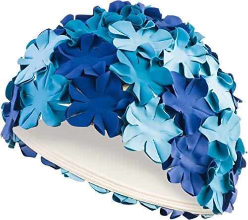 Aqua speed bloom donne retro cuffia di bagno (70 lattice di gomma fiori), colore:blue multicolour