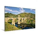 Premium Textil-Leinwand 120 cm x 80 cm quer, Brücke von Alcántara | Wandbild, Bild auf Keilrahmen, Fertigbild auf echter Leinwand, Leinwanddruck: Extremadura (CALVENDO Orte) - LianeM