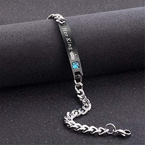 WODESHENGRI Armbänder,Liebhaber Armband Edelstahl Crystal Charme Bracelets Frauen Männer Geschenke Für Paare Mode Link Kette (Billig Für Easy-kostüme Paare)
